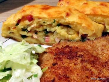 Kartoffel Rolle veredelt Kotelett und grünen Salat