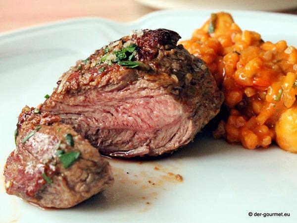 Tomaten Risotto mit Lammfilet