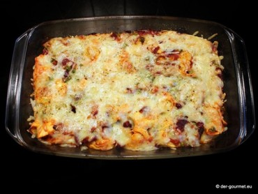 Überbackene Tortellini mit Chorizo