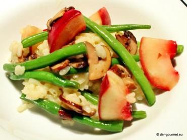 Risotto mit Champignons, Bohnen und Pfirsich