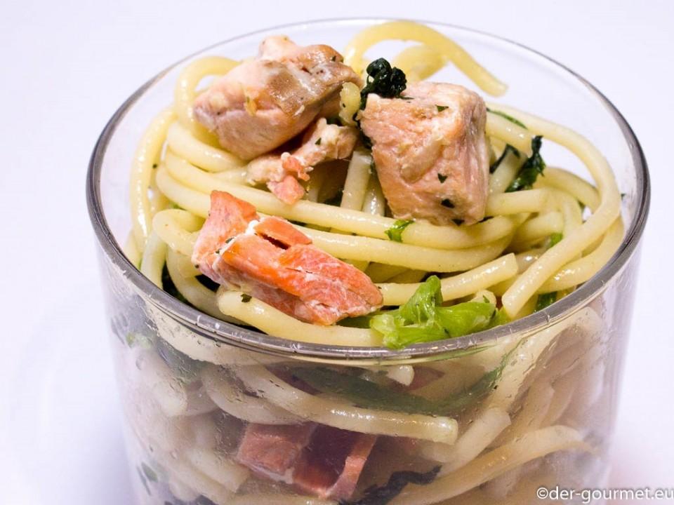 Lachs Spaghetti aus dem Glas